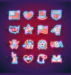 fourth of july neon signs vector image