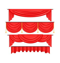 pelmet red curtains set for theatre interior vector image