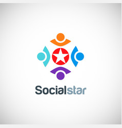 social star colored people logo vector image vector image