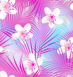 Tropical frangipani hibiscus with pink palms vector image vector image