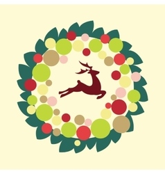 christmas wreath with color ball and deer vector image vector image