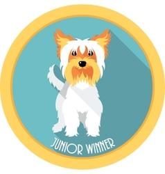 dog Junior winner medal icon flat design vector image vector image