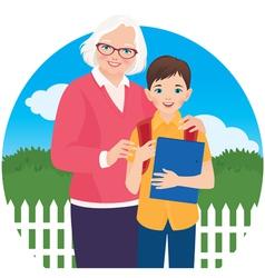 Elderly woman with her grandson schoolboy vector image