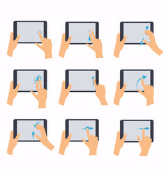 hands holding a tablet touch computer gadget hand vector image