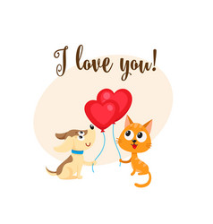 i love you card with dog cat heart shaped vector image