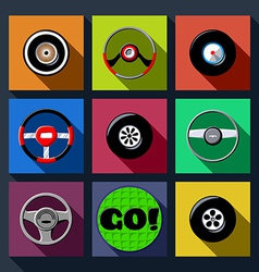 Set of automotive long shadow flat icons vector image