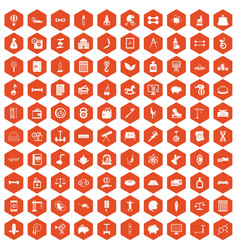 100 balance icons hexagon orange vector