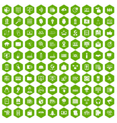 100 cyber security icons hexagon green vector