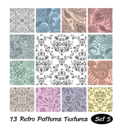 13 Retro Patterns Textures Set 5 vector image