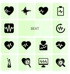 14 beat icons vector