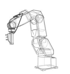 3d outline robotic arm rendering of 3d vector image