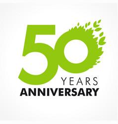 50 anniversary leaves logo vector image