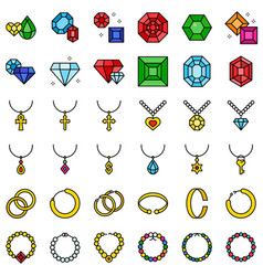 accessories and jewelry icon set filled style vector image
