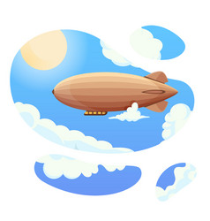 Airship in blue sky and clouds vintage airship vector