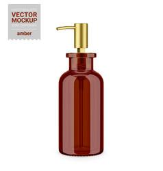 Amber glass soap dispenser bottle mockup template vector