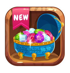 App icon with blue casket of gems vector