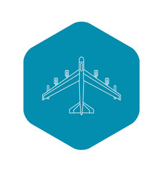 armed fighter jet icon outline style vector image
