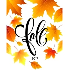 autumn calligraphy background fall leaves vector image