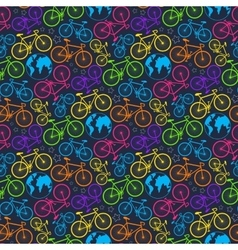 bicycle and earth pattern vector image