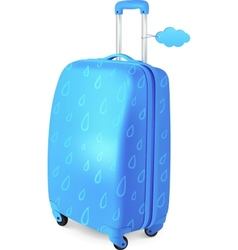Blue travelers suitcase with rainy pattern vector image