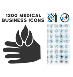 burn hand icon with 1300 medical business icons vector image