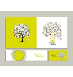 Business cards with floral girl for your design vector
