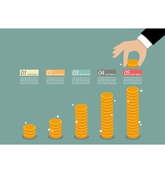 Business hand collect coin infographic vector