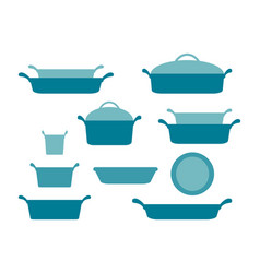 casseroles and baking dishes header collection of vector image