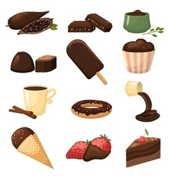 Chocolatete products set vector image