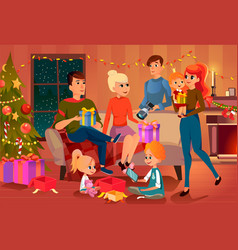 christmas at cozy home people give and open gifts vector image