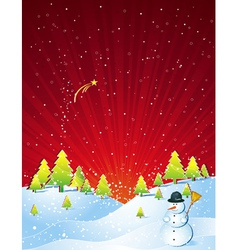 christmas card with forest and snowman vector image