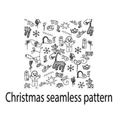 christmas seamless pattern deer doodle cookies vector image