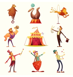 Circus Retro Icons Cartoon Set vector image