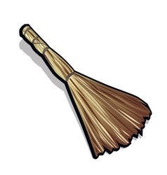 Classic broom made of straw vector