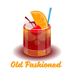 Cocktail old fashioned vector
