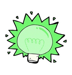 comic cartoon flashing green light bulb vector image