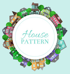 cute houses round pattern with color home vector image