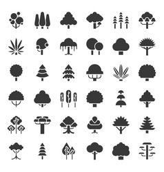 cute simple tree and plant icon vector image