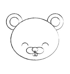 Cute sketch draw beaver cartoon vector