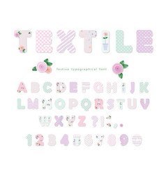 cute textile font for scrapbook or collage design vector image