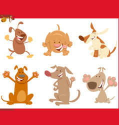 dogs or puppies cartoon characters set vector image