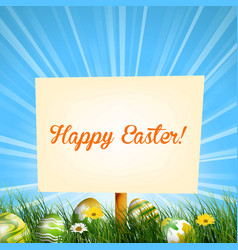 Easter sign background in meadow vector