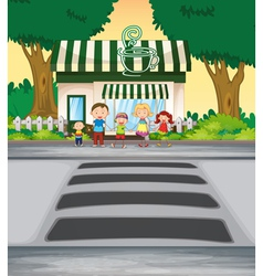 Family outside coffee shop vector image