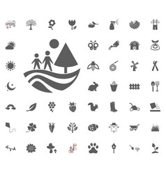 Family walking in forest icon spring vector