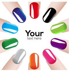Fashion colours nails vector