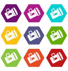 flashlight icon set color hexahedron vector image