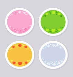 four seasonal stickers with corresponding symbols vector image