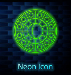 Glowing neon line astrology horoscope circle vector