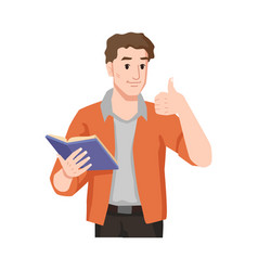 Guy liked book handsome man enjoys reading novel vector