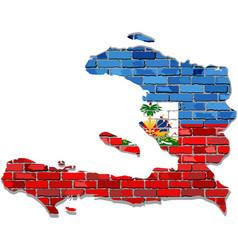 haiti map on a brick wall vector image